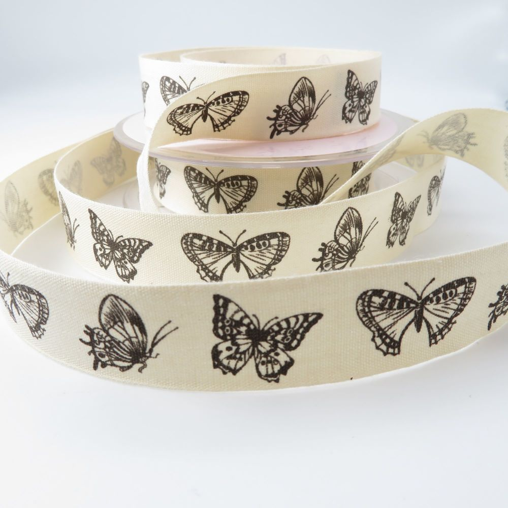 Butterfly print cotton ribbon trim