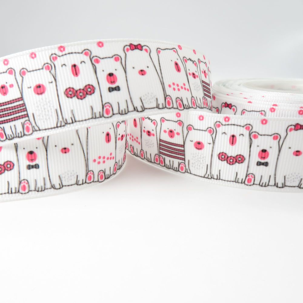 Polar Bear print grosgrain ribbon