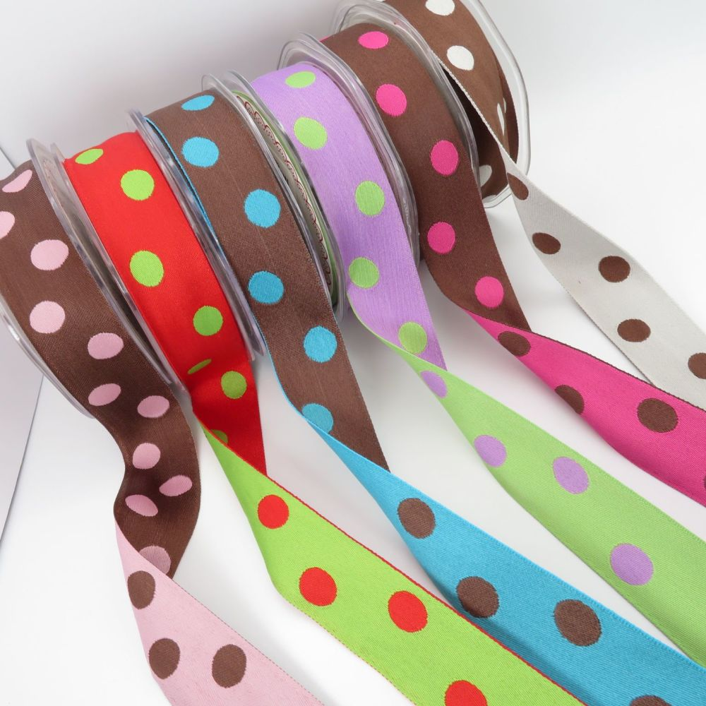 Bertie's Bows Reversible Polka Dot Woven Ribbons