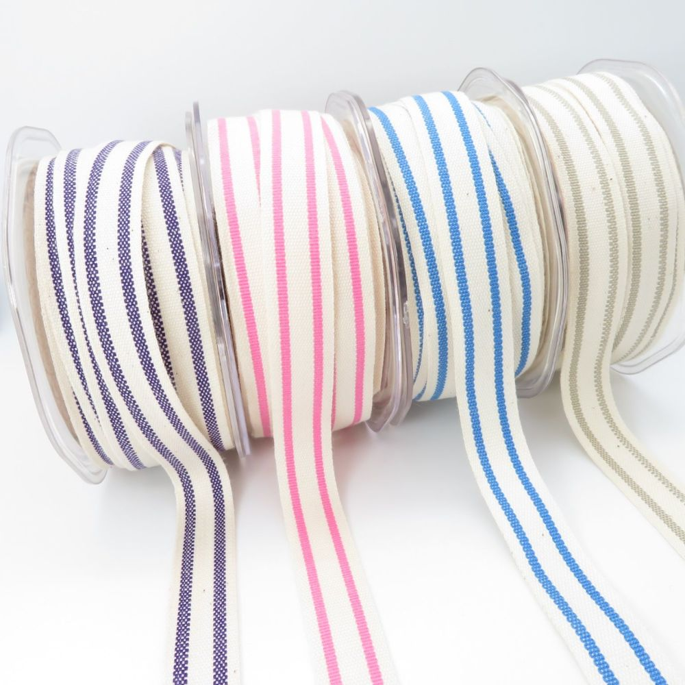 Bertie's Bows Ticking Stripe Cotton Ribbons