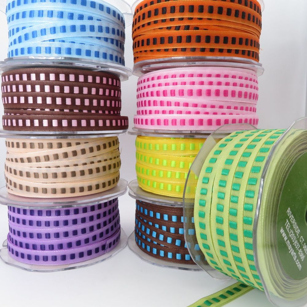 May Arts 10mm Solid Centre Square Woven Ribbons