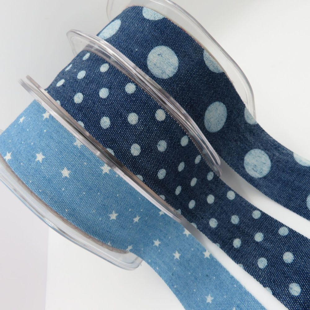 Bertie's Bows 25mm Printed Raw Edge Denim Ribbons