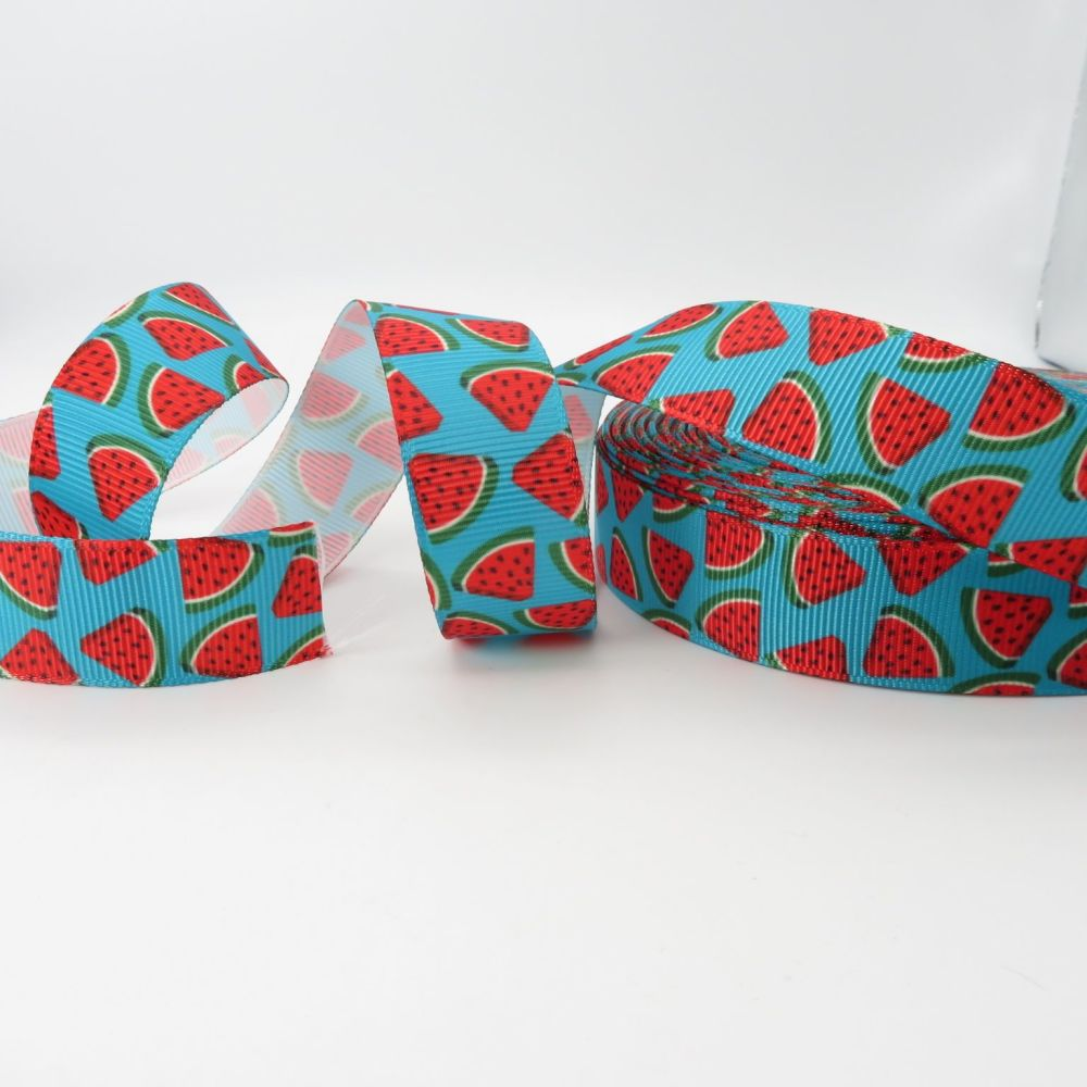 Tropical Watermelon Print 23mm Grosgrain Ribbon