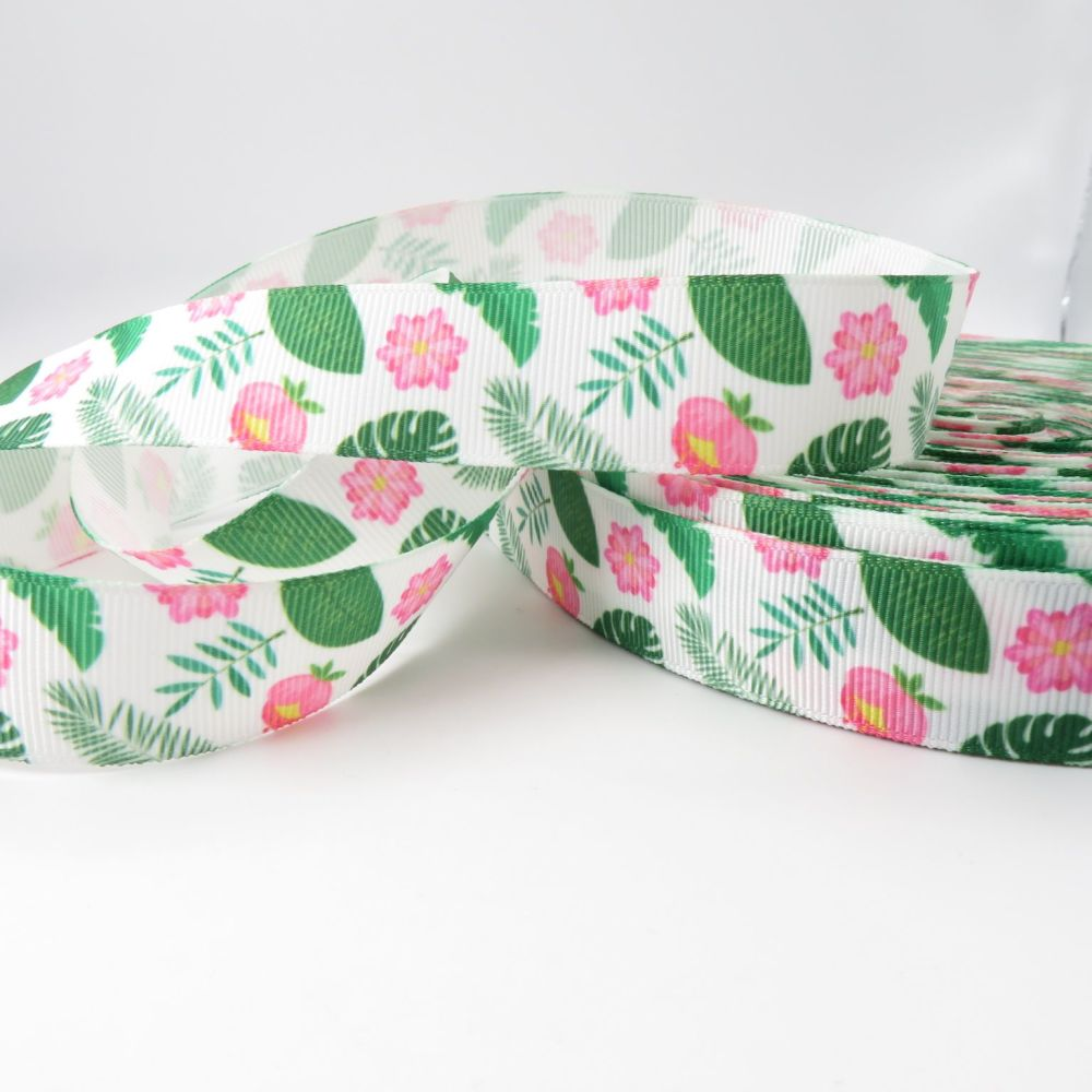 Tropical Forest Print 23mm Grosgrain Ribbon