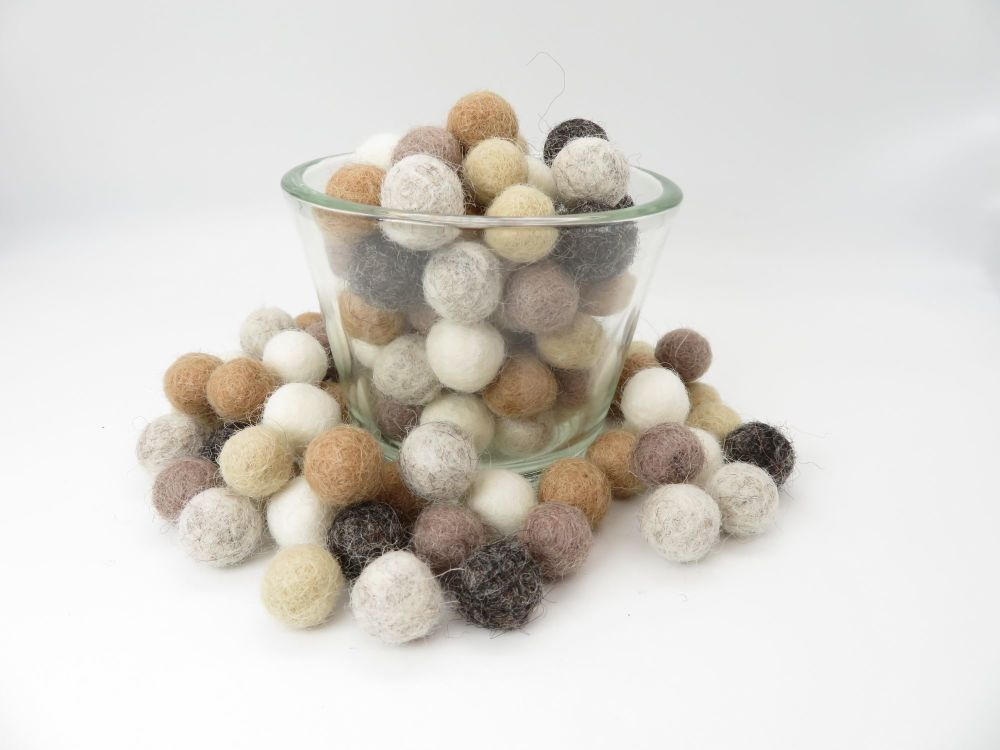Pebble Inspired Wool Felt Balls Mix (24)