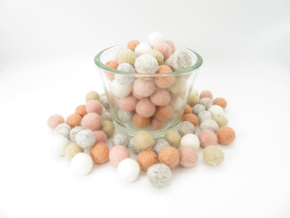 Boho Wool Felt Balls Mix - 3 Sizes