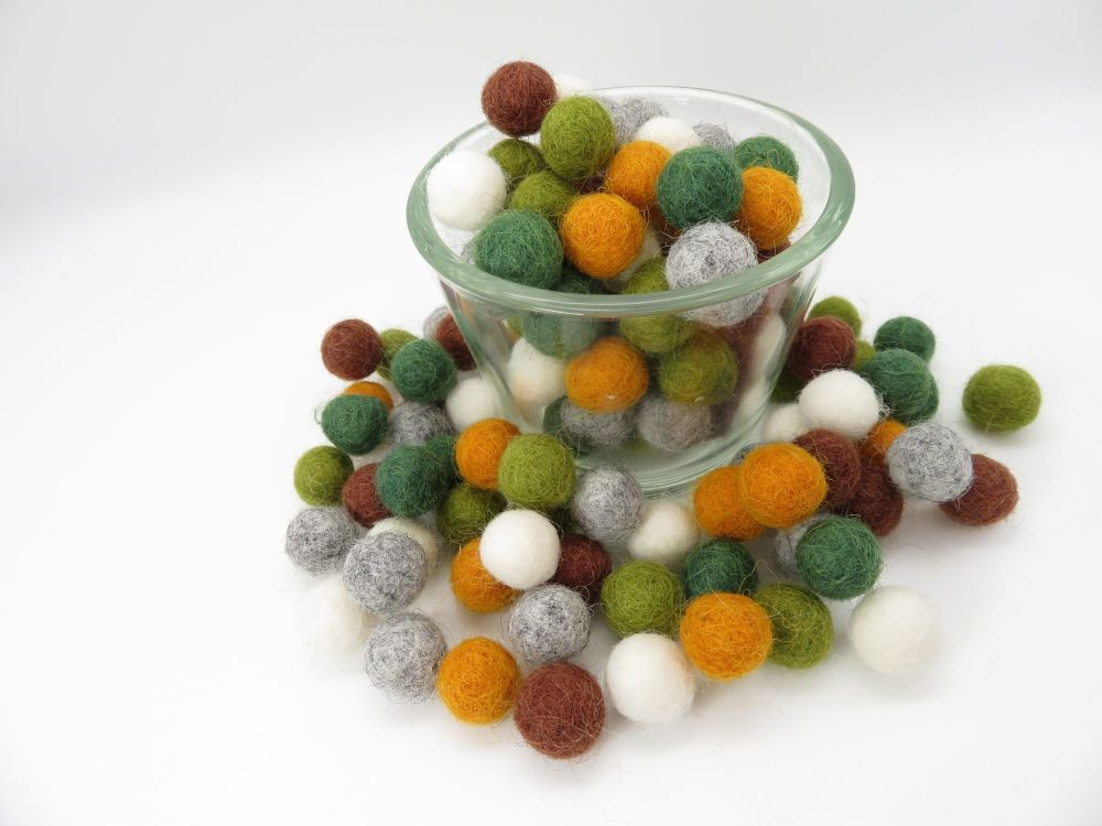 Wild Woods Inspired Wool Felt Balls Mix (24)