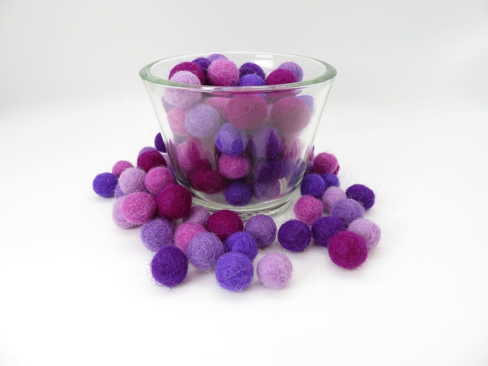 Purple Hues Wool Felt Balls Mix (24)