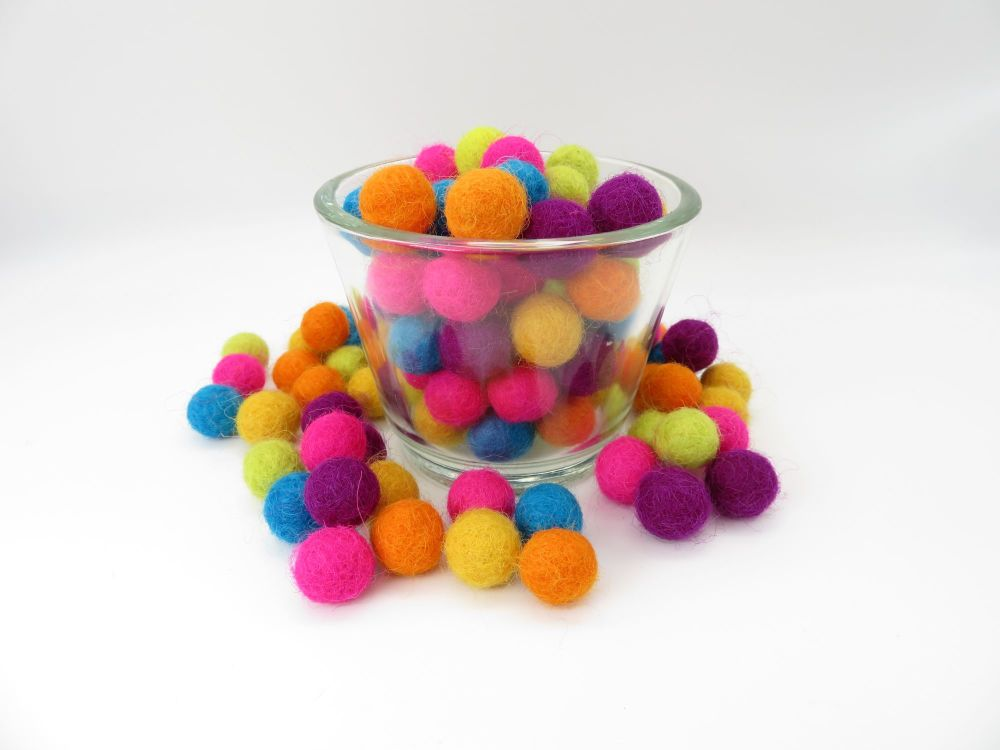 Rainbow  Bright's Wool Felt Balls Mix - 3 Sizes