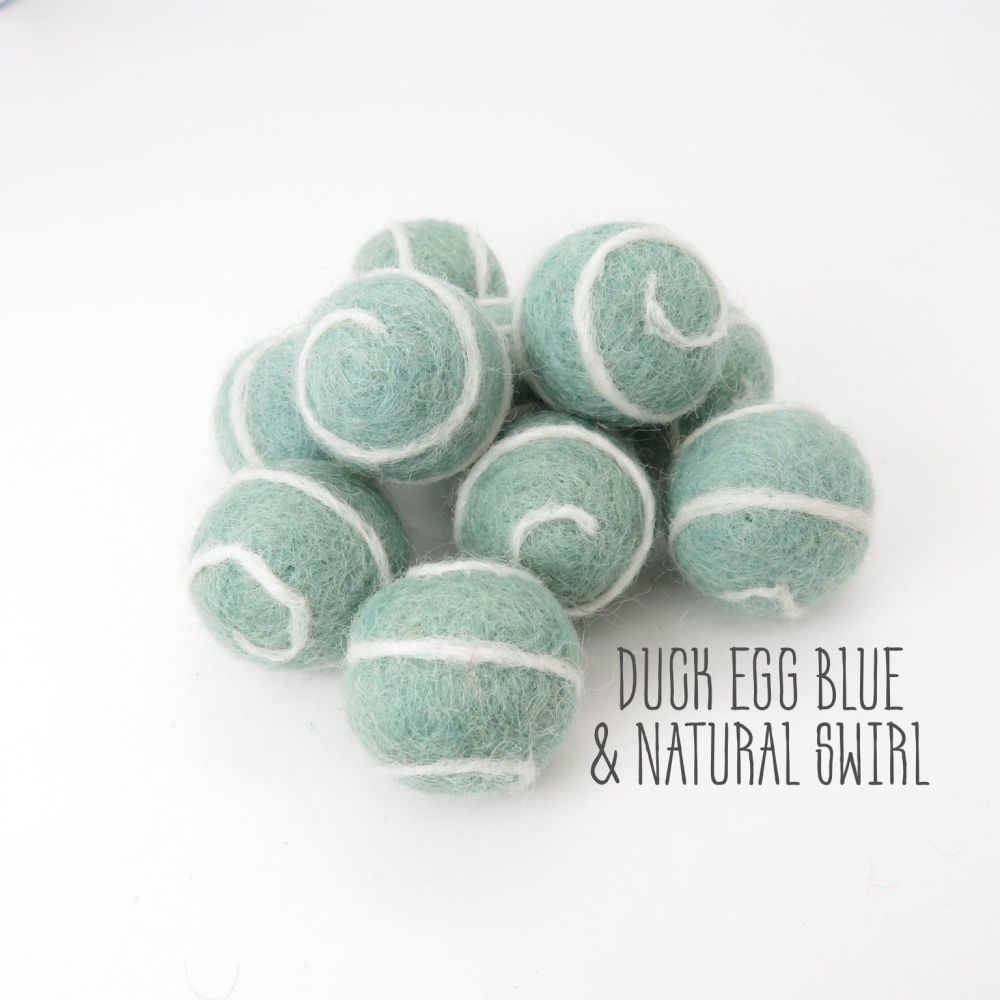 Duck Egg Blue and Natural Swirl Felt Balls