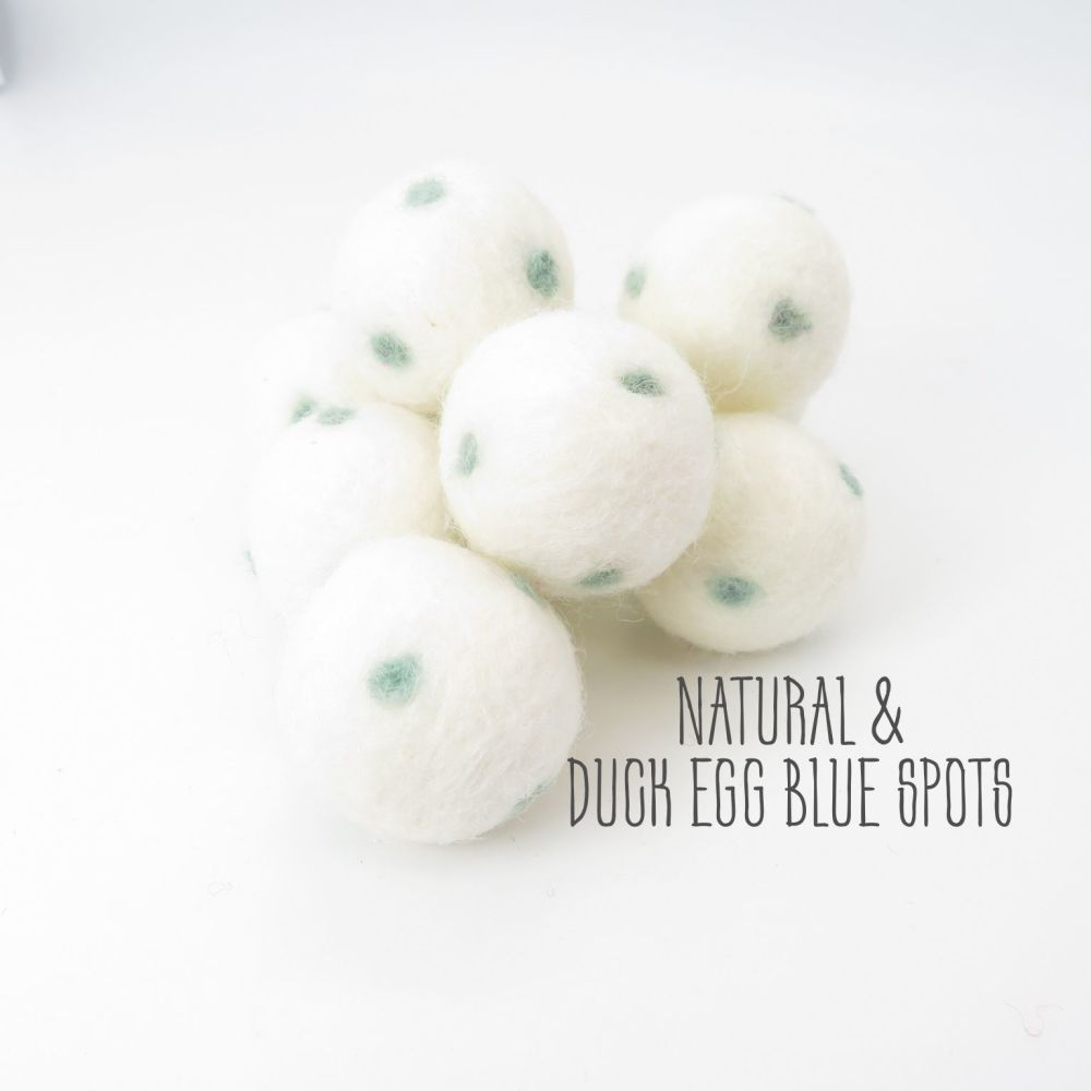 Natural and Duck Egg Blue Spot Felt Balls