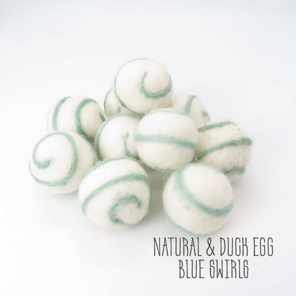 Natural and Duck Egg Blue Swirl Felt Balls