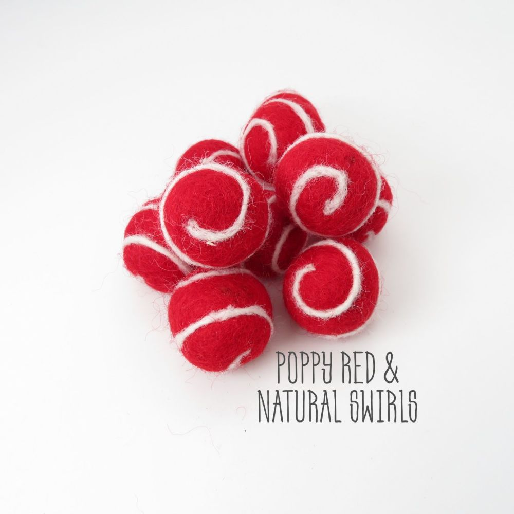 Poppy Red and Natural Swirl Felt Balls