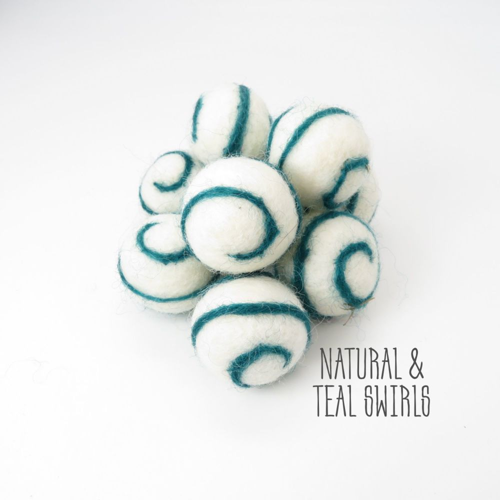 Natural and Teal Swirl Felt Balls