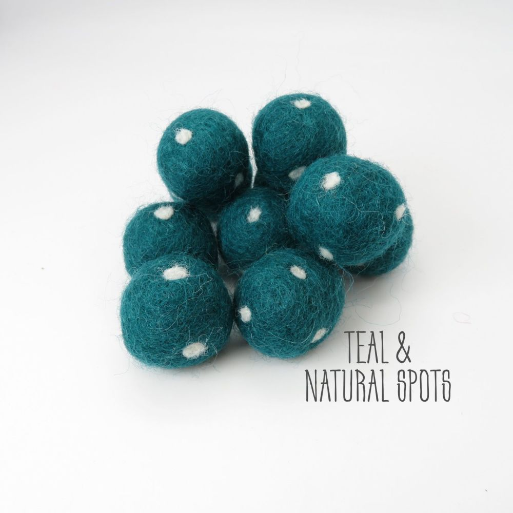 Teal and Natural Spot Felt Balls