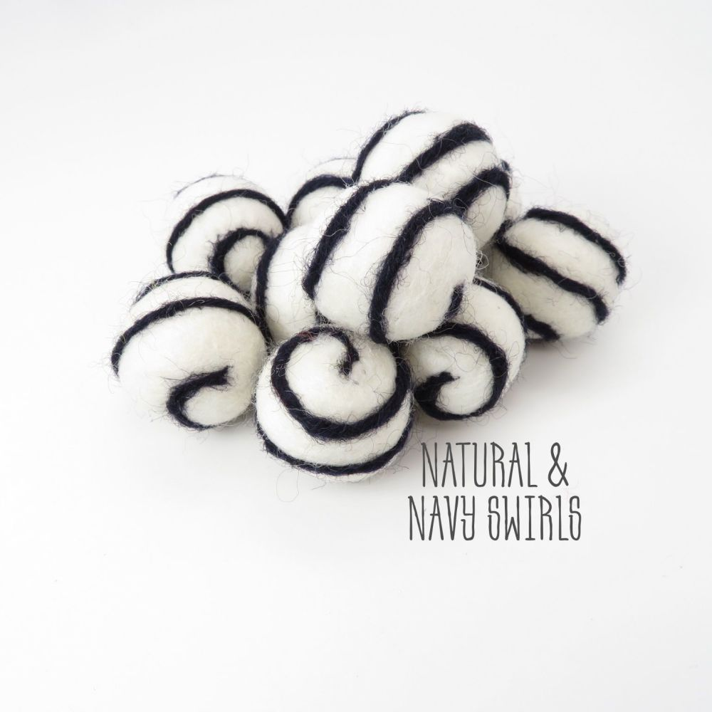 Natural and Navy Blue Swirl Felt Balls