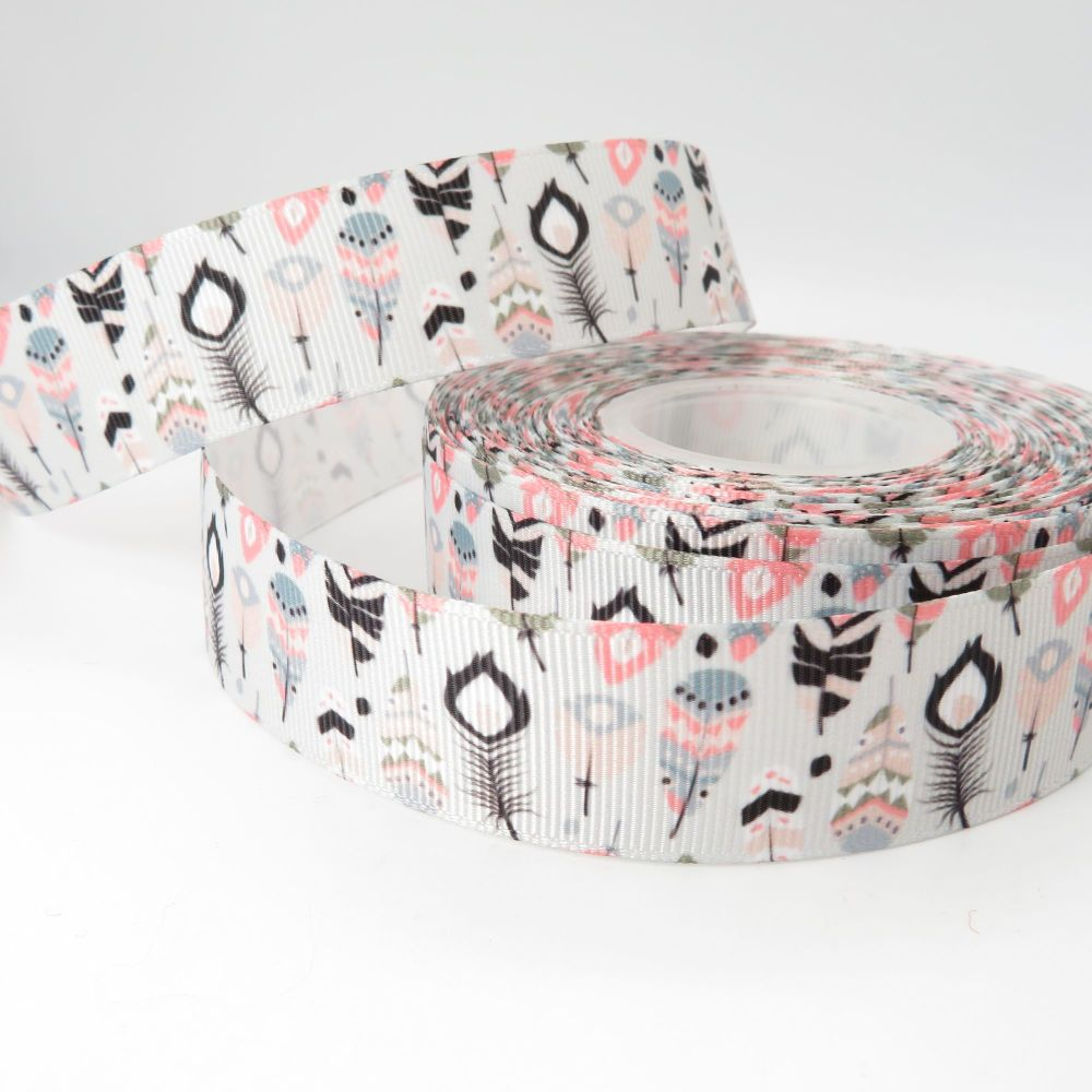 Bohemian Feathers print grosgrain ribbon