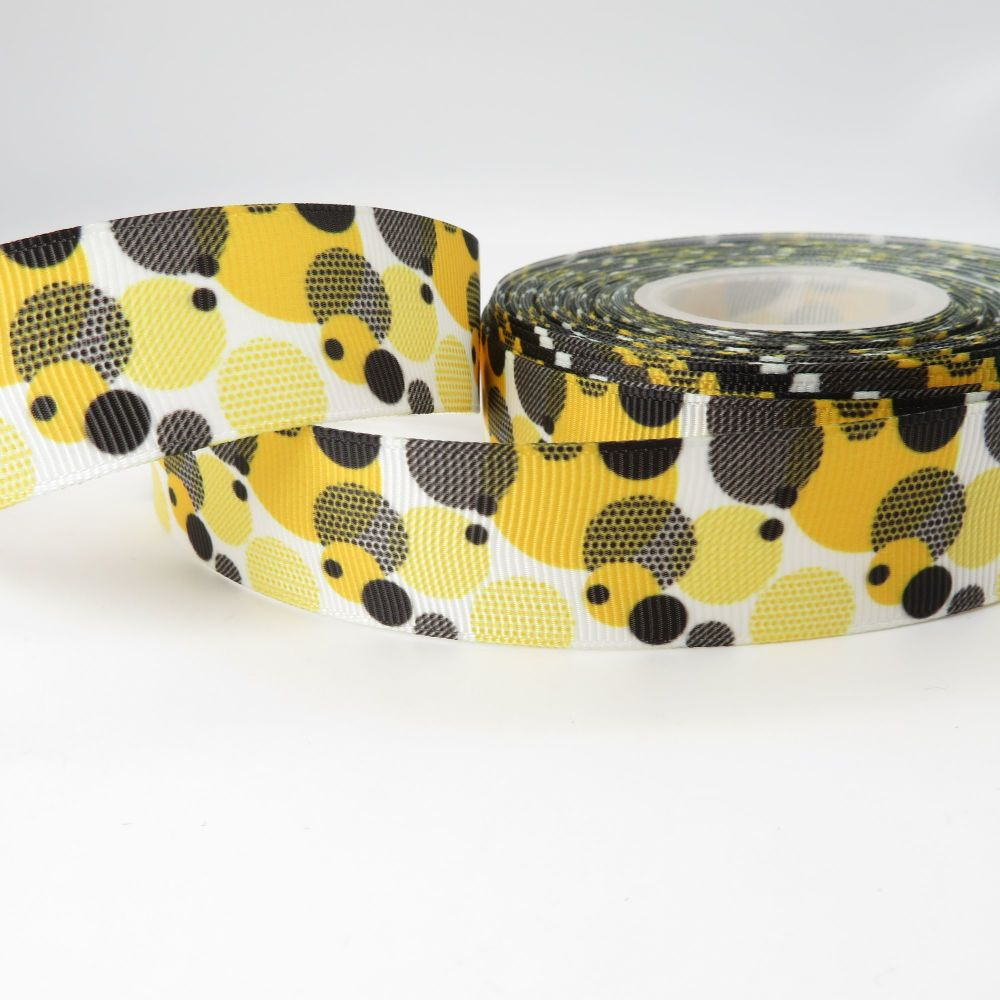 Yellow and Black Geo Bubbles print grosgrain ribbon