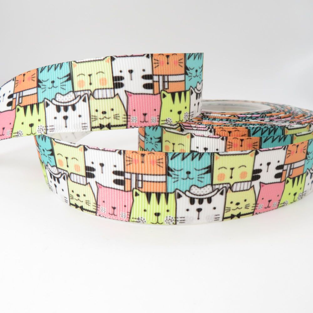 Cool Cats print grosgrain ribbon