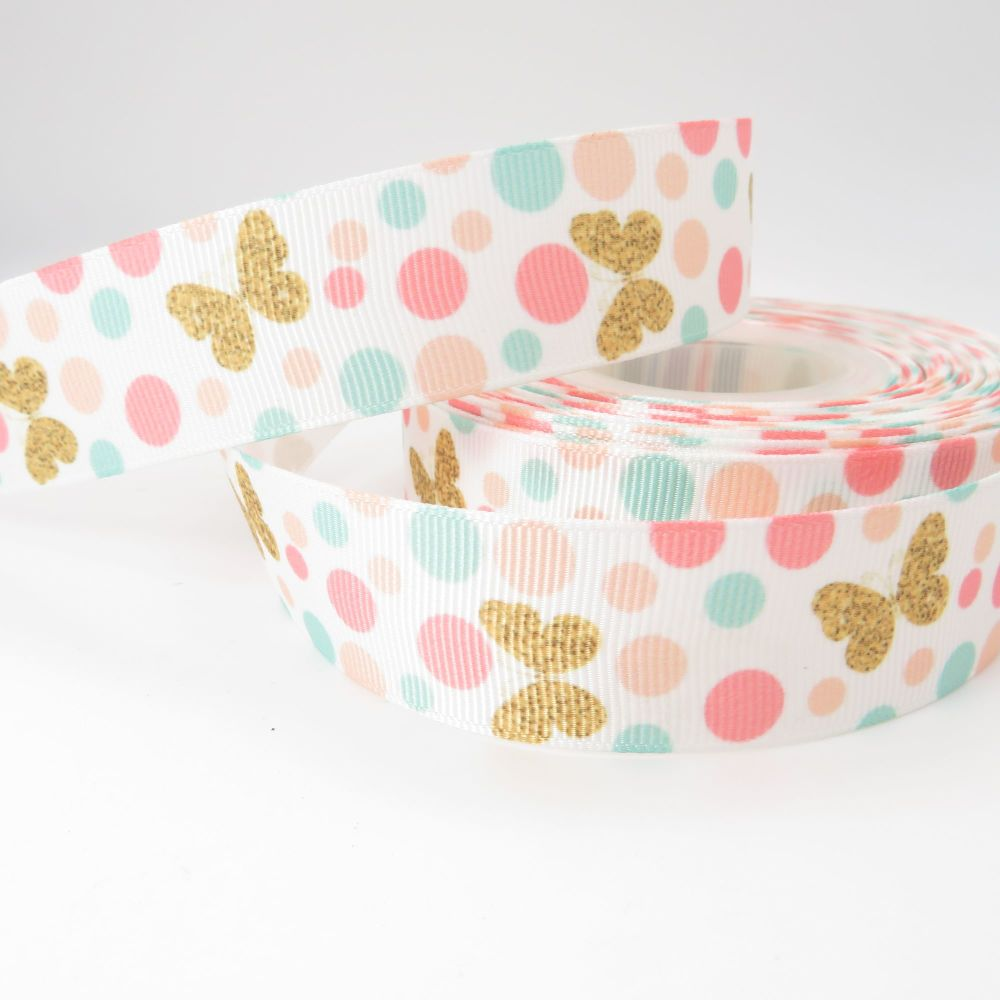 Butterfly Polka Dot print grosgrain ribbon