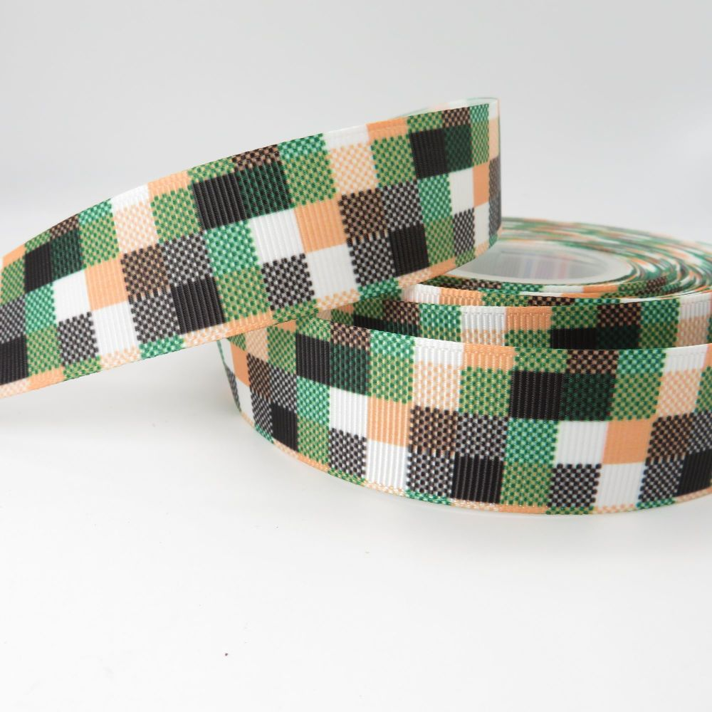 Apricot & Green Patchwork Geometric print grosgrain ribbon