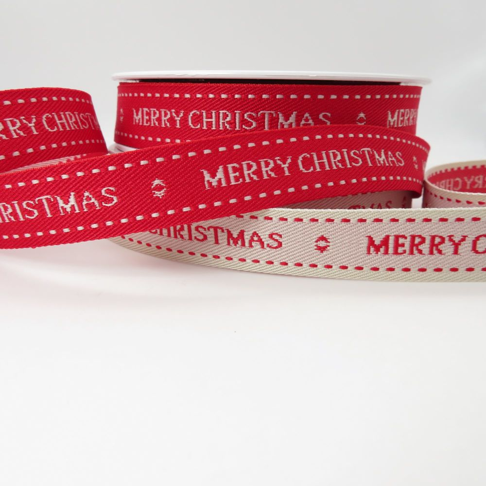 Berisfords 15mm 'Merry Christmas' Stitched Ribbons