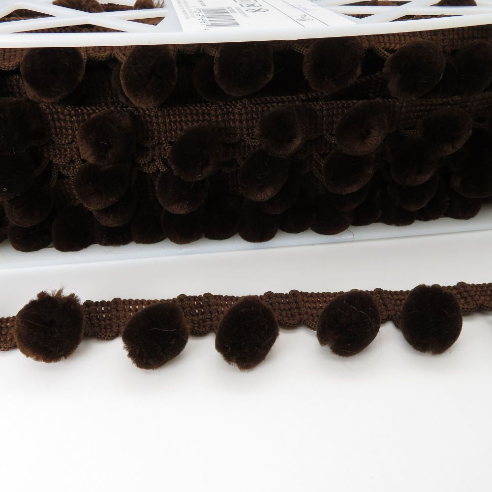 Luxury Simplicity Pom Pom Trimming - Sable - Sold Per Metre