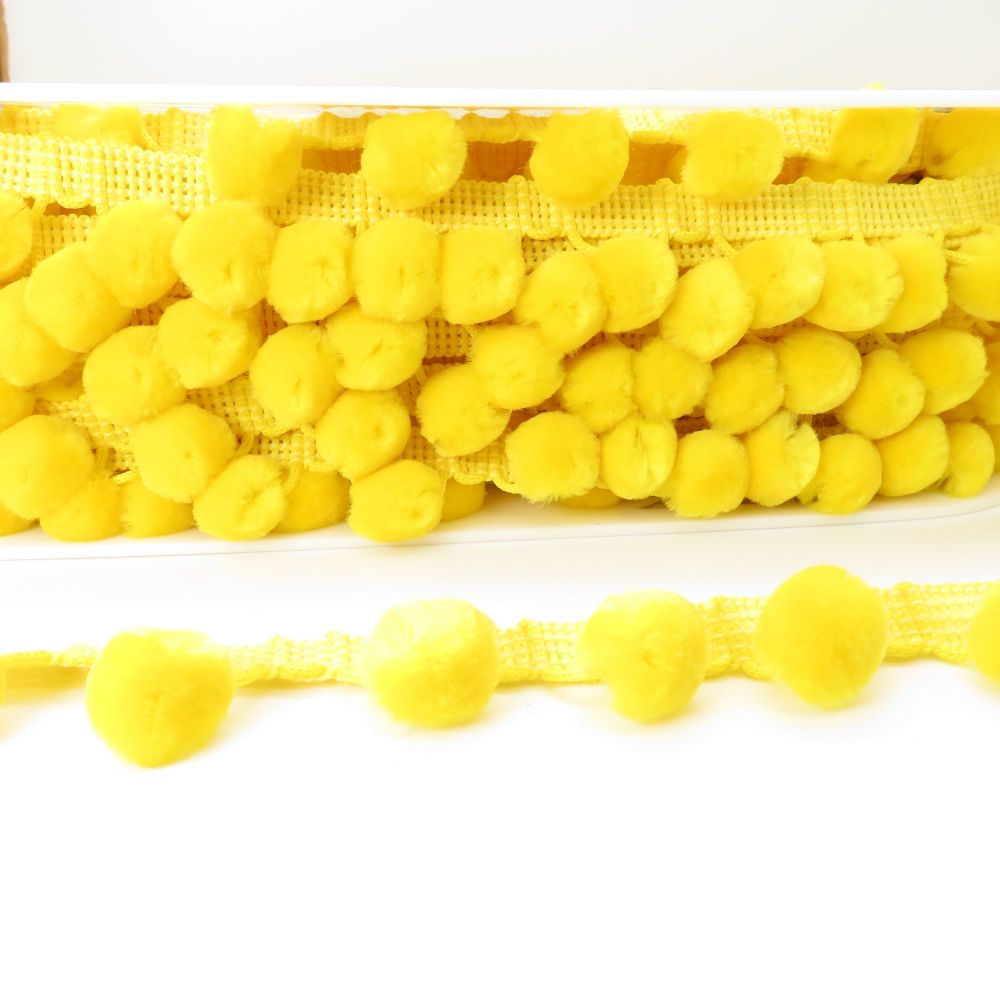 Luxury Simplicity Pom Pom Trimming - Canary - Sold Per Metre