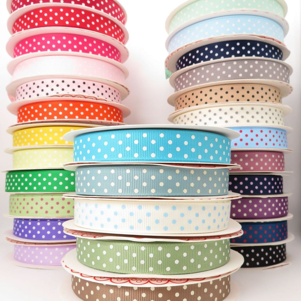 Bertie's Bows 16mm Polka Dot Grosgrain Ribbons