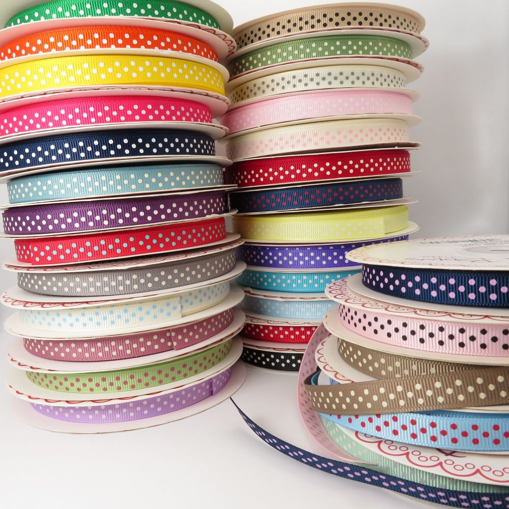 Bertie's Bows 9mm Polka Dot Grosgrain Ribbons