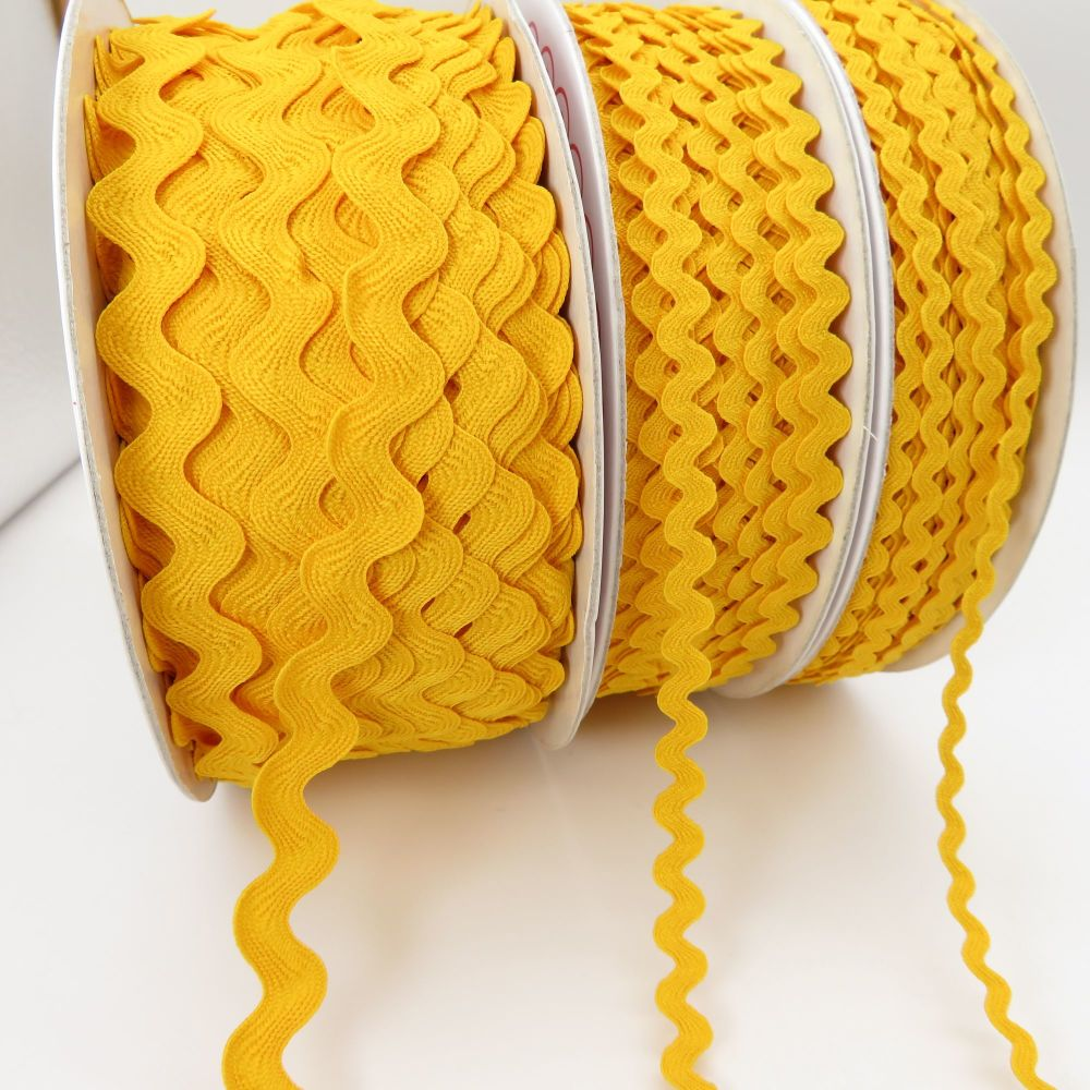 Bertie's Bows Ric Rac Ribbons - Yellow - 3 Sizes