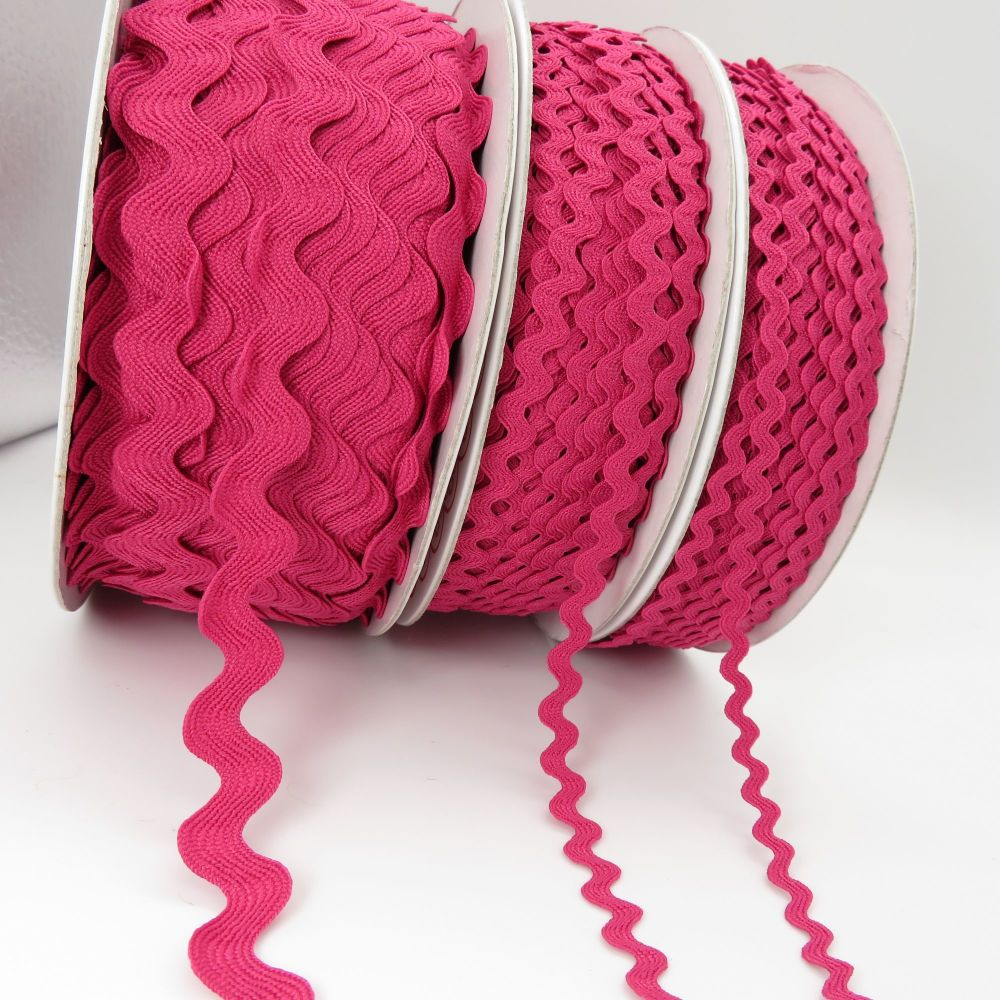 Bertie's Bows Ric Rac Ribbons - Fuchsia - 3 Sizes