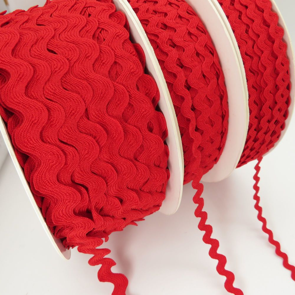 Bertie's Bows Ric Rac Ribbons - Red - 3 Sizes