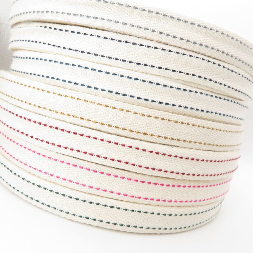 Saddle Stitch Cotton Ribbons - 7 Colours