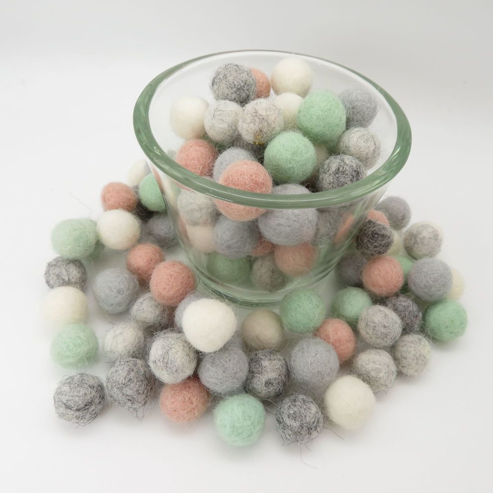 Pure Wool Felt Balls Mix - 3 Sizes