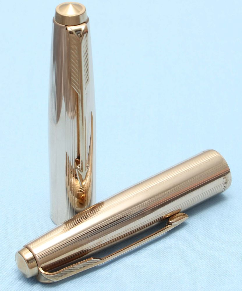 Parker 51, 61 or 65 Custom Cap in Rolled Gold. Made in UK. (S304)
