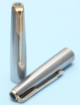 Parker 61 Deluxe Cap in Lustraloy with a Rolled Gold Clip. Made in the UK. (S301)