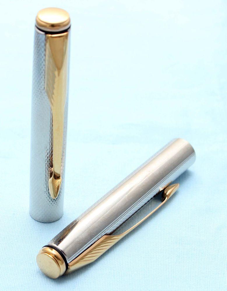 Parker Insignia Pencil Cap. silver Plated Grain D'Orge with 14K Dimonite Tr