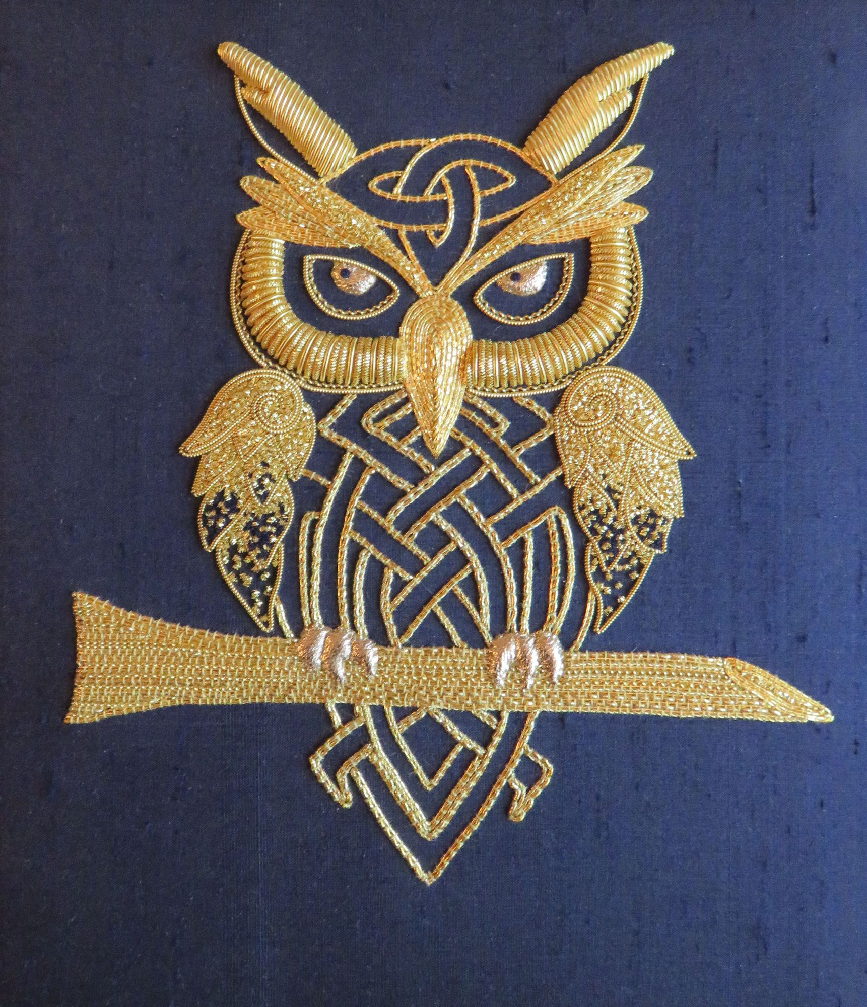Grumpy Owl in Goldwork  for my certificate with the Royal School of Needlework.