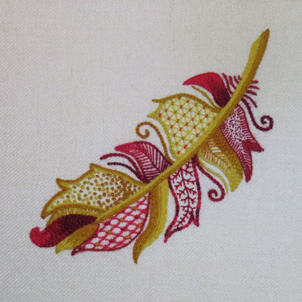 Phoenix Feather crewel work embroidery kit.