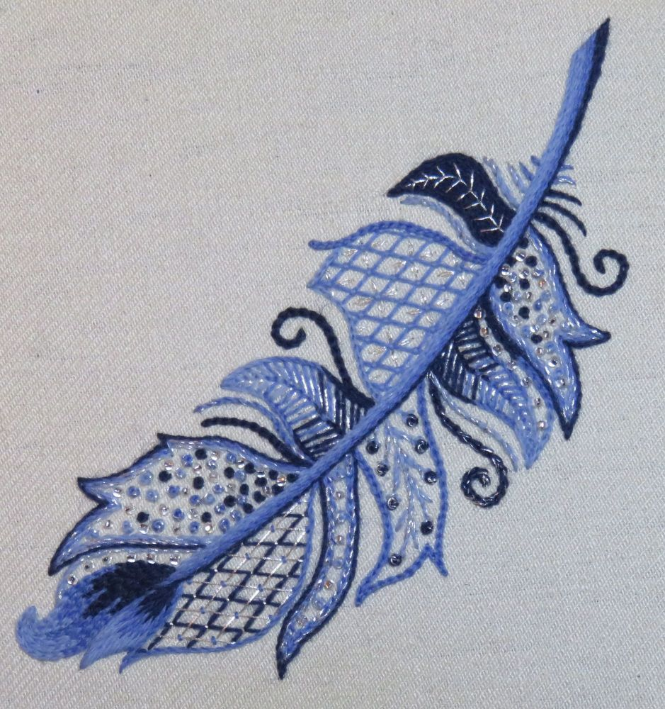 Blue Bird Sparkly Feather crewel work embroidery kit.