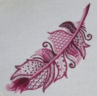 Pink Sparkly Feather crewel work embroidery kit.