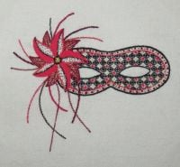 Harlequin Mask in red crewel work embroidery kit.