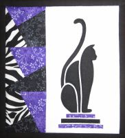 Art Deco Cat - patchwork kit - purple