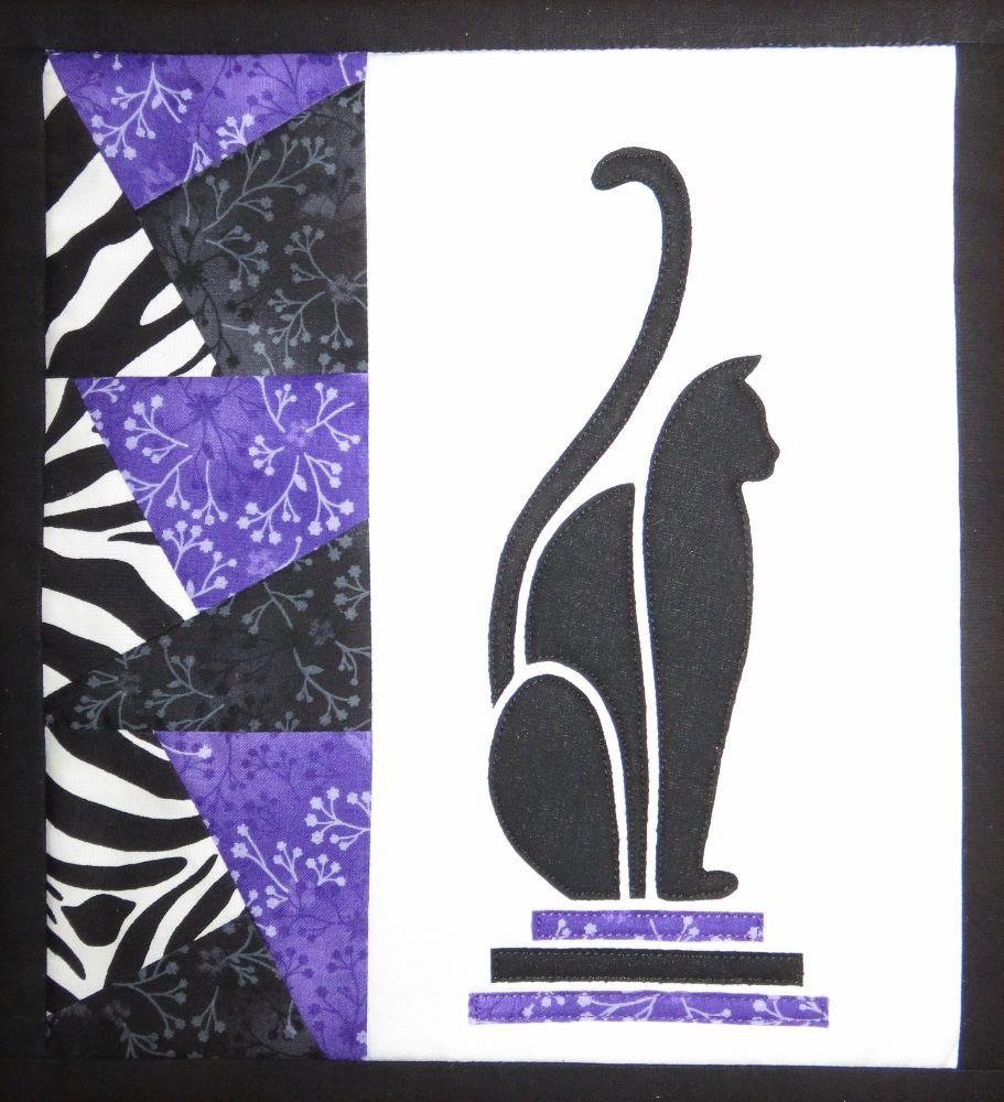 Art Deco Cat - patchwork kit - purple