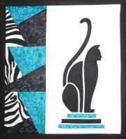 Art Deco Cat - patchwork kit - turquoise.