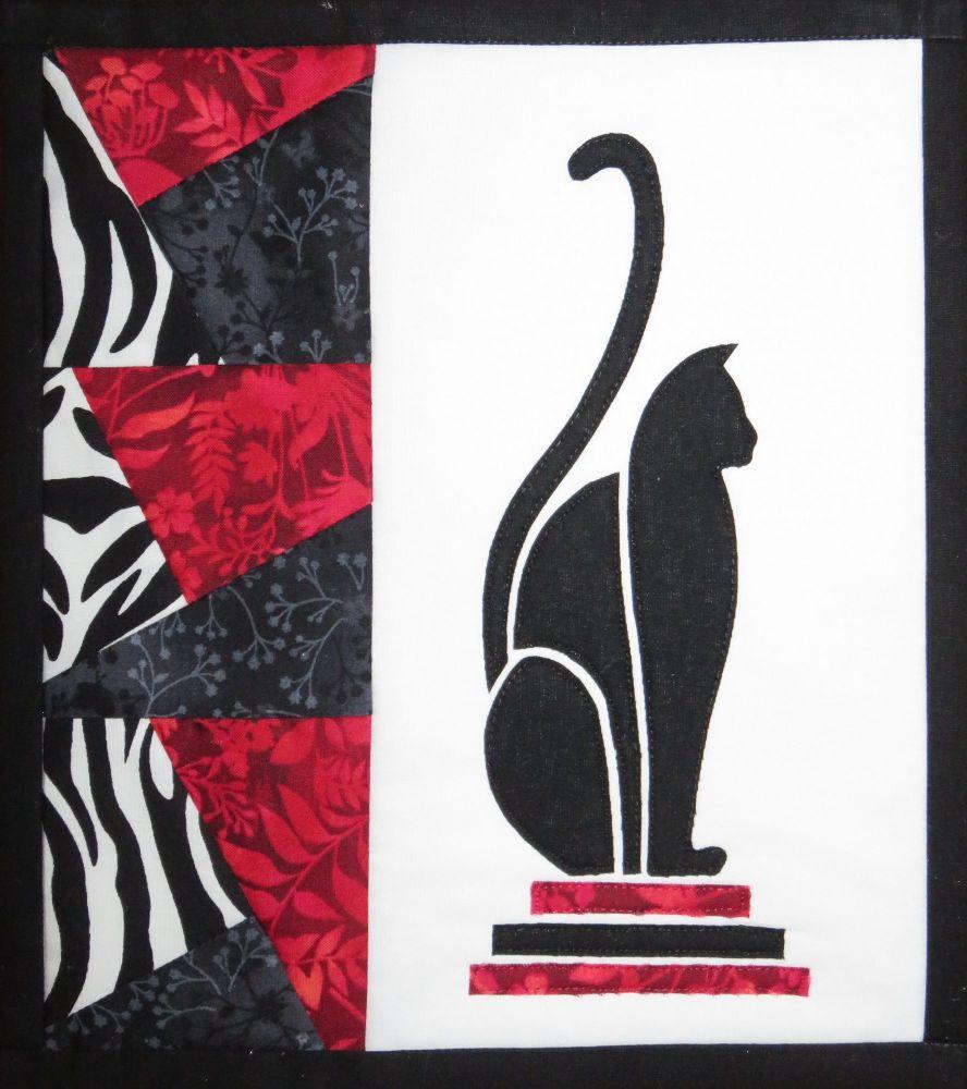 Art Deco Cat - patchwork kit - red.