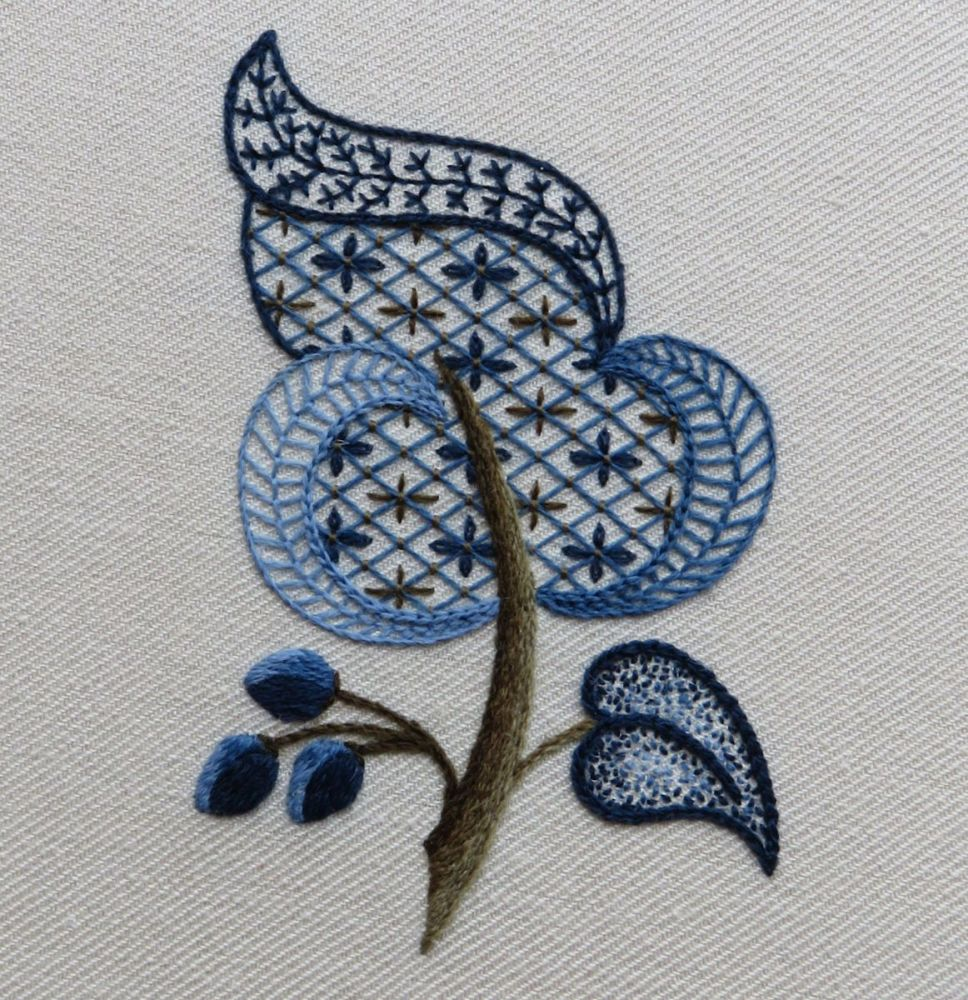 Blue Leaf crewel work embroidery kit.