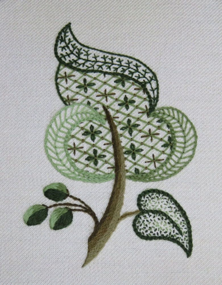 Green Leaf crewel work embroidery kit.