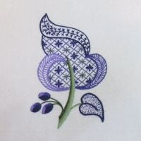 Purple Leaf crewel work embroidery kit.